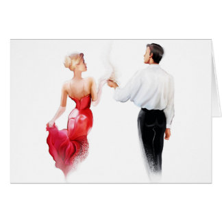 Illustration of a couple dancing tango greeting card