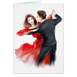 Illustration of a couple dancing waltz greeting card