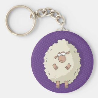 Illustration of a cute and funny giant sheep basic round button key ring