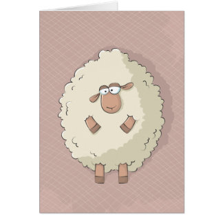 Illustration of a cute and funny giant sheep greeting card