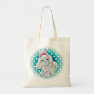 Illustration of a cute dog yorkshire terrier tote bag