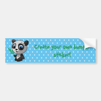 Illustration of a cute wild panda with bamboo bumper sticker