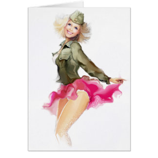Illustration of a dancer dressed as a soldier greeting card