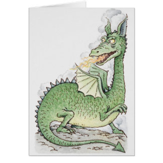 Illustration of a dragon spitting fire card
