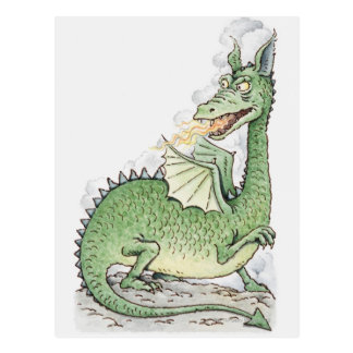 Illustration of a dragon spitting fire postcard