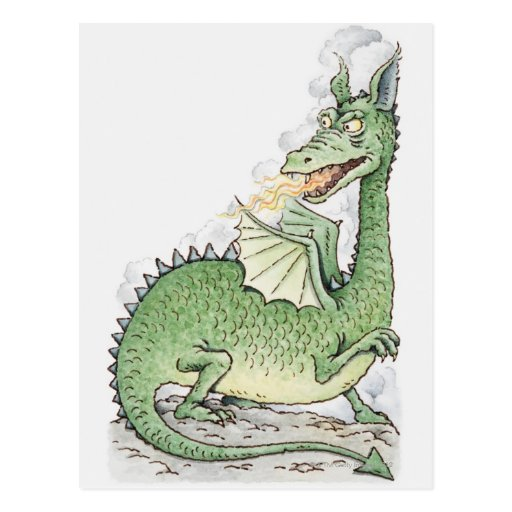 Illustration of a dragon spitting fire post card