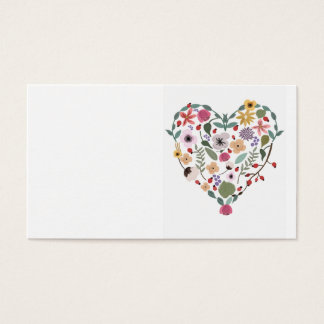 Illustration of a floral heart on business cards