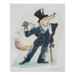 Illustration of a fox dressed in suit and top poster