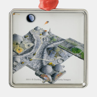 Illustration of a futuristic base on the Moon Silver-Colored Square Decoration
