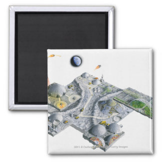 Illustration of a futuristic base on the Moon Square Magnet