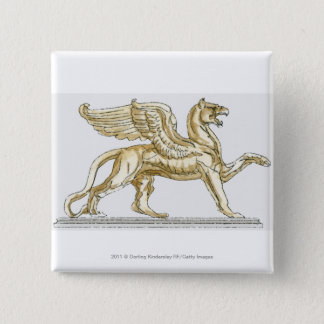 Illustration of a griffin statue 15 cm square badge