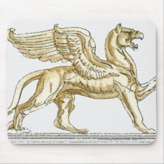 Illustration of a griffin statue mouse mat