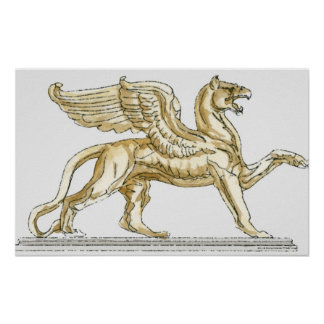 Illustration of a griffin statue poster