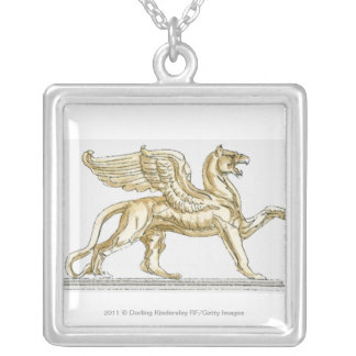Illustration of a griffin statue silver plated necklace