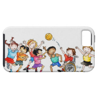 Illustration of a group of children including a case for the iPhone 5