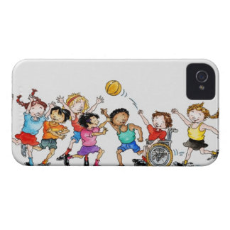 Illustration of a group of children including a iPhone 4 case