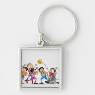 Illustration of a group of children including a keychains