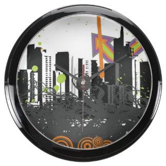 Illustration of a grungy cityscape aquavista clocks