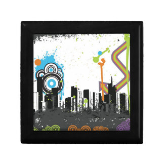 Illustration of a grungy cityscape gift box