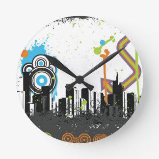 Illustration of a grungy cityscape round clock