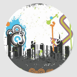 Illustration of a grungy cityscape round sticker