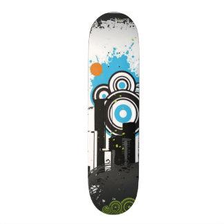 Illustration of a grungy cityscape skateboard deck