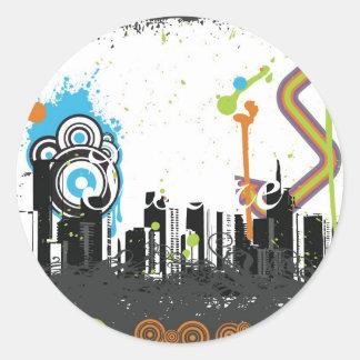 Illustration of a grungy cityscape sticker