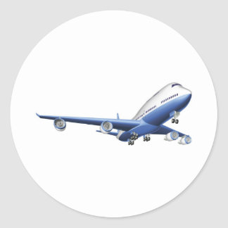 Illustration of a large passenger plane round sticker