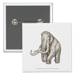 Illustration of a mammoth 15 cm square badge