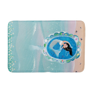 Illustration of a Mermaid's mirror w Bubble Kiss Bath Mat