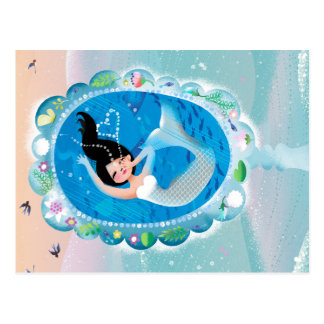 Illustration of a Mermaid's Mirror w Bubble Kiss Postcard