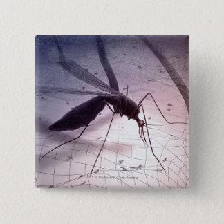 Illustration of a mosquito biting 15 cm square badge