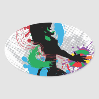 Illustration of a music DJ Oval Sticker