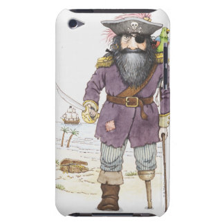 Illustration of a pirate with parrot perched on barely there iPod covers