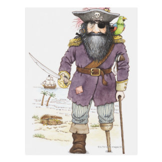 Illustration of a pirate with parrot perched on postcard