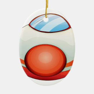 Illustration of a plane Double-Sided oval ceramic christmas ornament