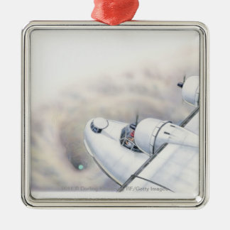 Illustration of a plane flying above wormhole christmas ornament