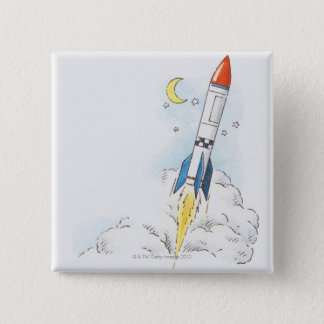 Illustration of a rocket taking off 15 cm square badge