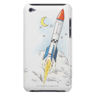 Illustration of a rocket taking off barely there iPod cover