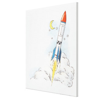 Illustration of a rocket taking off canvas print