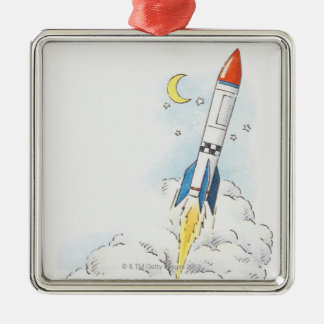 Illustration of a rocket taking off christmas ornament