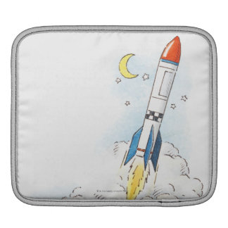 Illustration of a rocket taking off iPad sleeve