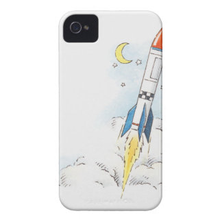 Illustration of a rocket taking off iPhone 4 case