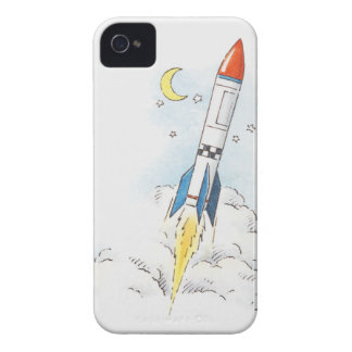 Illustration of a rocket taking off iPhone 4 Case-Mate case