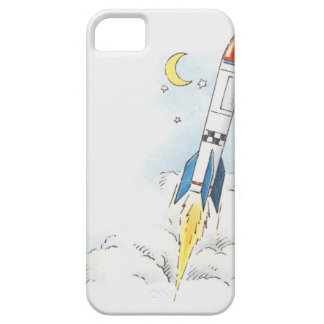Illustration of a rocket taking off iPhone 5 cover