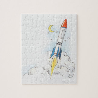 Illustration of a rocket taking off jigsaw puzzle