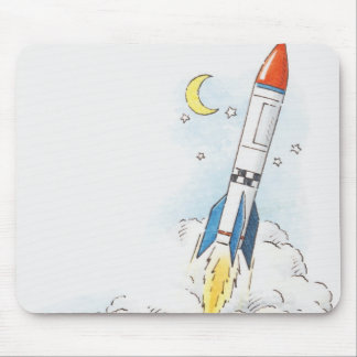 Illustration of a rocket taking off mouse pad
