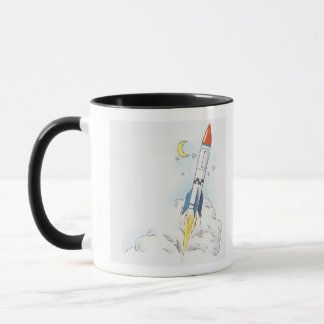 Illustration of a rocket taking off mug