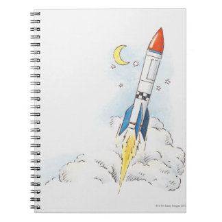 Illustration of a rocket taking off note book