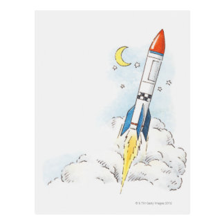 Illustration of a rocket taking off postcard